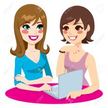 22527663-Two-women-friends-browsing-on-the-internet-and-doing-social-networking-using-a-laptop-Stock-Vector